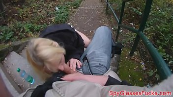 Pickedup euro amateur jizzed on tits outdoors