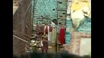 desi indian girl taking bath outside