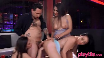 Three sexy brunette chick get fucked after a VIP party