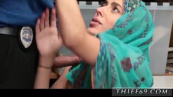 Tied and standing still bad cop slut Hijab-Wearing Arab Teen Harassed
