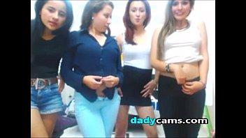Four amateur teens undressing