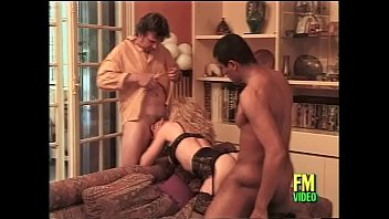 French milf in hot black lingerie banged by two guys