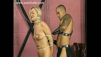 Horny blond slave with nice tits gets spanks slave on her ass and tight pussy BDSM