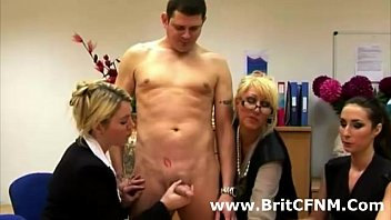 Strict group of British CFNM ladies stroke naked guys cock