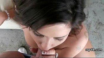Petite teen babe swallows cum