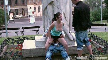 Teens PUBLIC street sex GANG BANG  by a famous statue PART 4