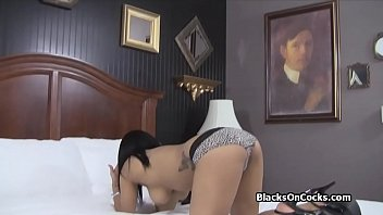 Busty black amateur blows on camera