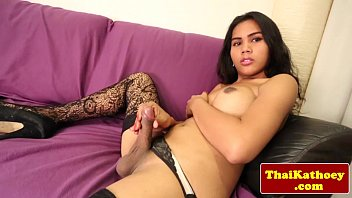 Busty amateur ladyboy in stockings solo fun