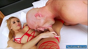 Busty big cock shemale Shyrley Soares banged by and fucks guy
