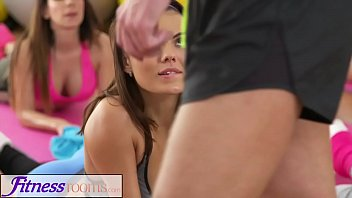 Fitness Rooms Big tits girls double blowjob threesome with gym instructor