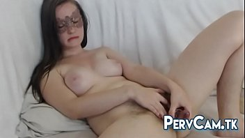 fur covered cootchie camgirl glass faux penis getting off