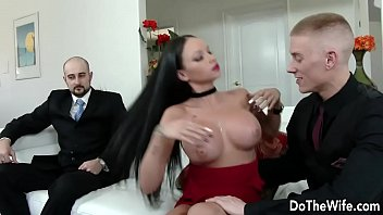 Beautiful brunette wife Raven Bay fucks in front of husband