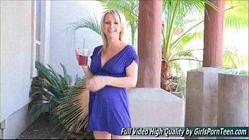 Melissa mature blonde big tits flashing pussy