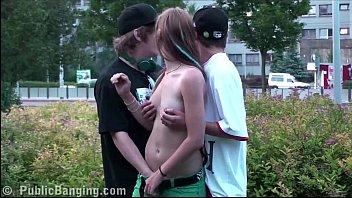 Hot teen Alexis Crystal PUBLIC gangbang orgy with 2 guys