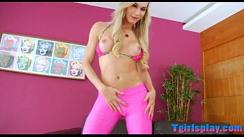 adorable blond ladyboy taunting on camera