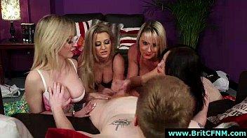 Group of CFNM British girls give handjob to naked guy
