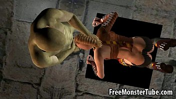 Hot 3D blonde sucks cock and gets fucked by a monster