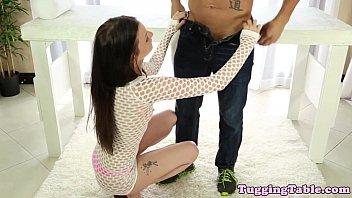 Tugjob loving petite babe swallowing cum