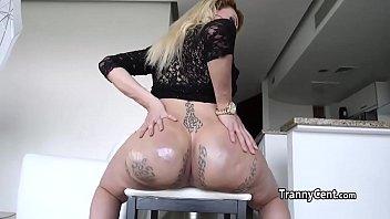 Tgirl cumming with big dildo in her ass