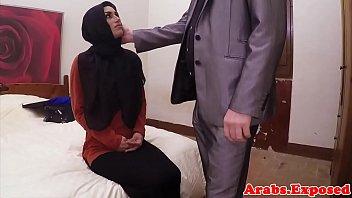 Hijab Arab babe takes cash for sex POV