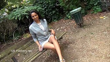 Teasing ebony voyeur Mels softcore exhibitionism and solo flashing black babe in