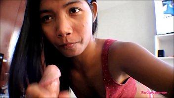 HD Tiny Asian Thai Teen Heather Deep films everyself giving a deepthroat throatpie
