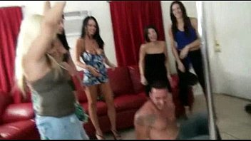 Horny amateur college sluts love group sex in a home party