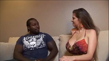 Busty brunette housewife decided to try black meat