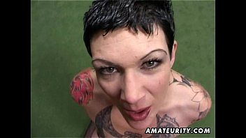 tatted inexperienced cougar homemade bj with.