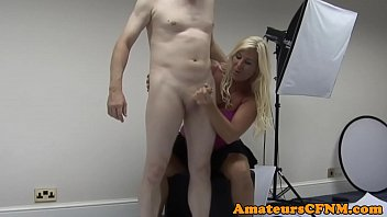 Chubby milf gives handjob in cfnm action