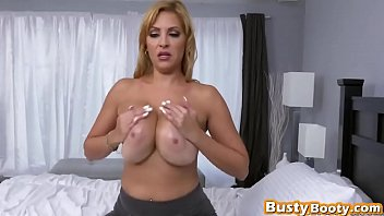Reverse cowgirl style blonde busty chick long rod