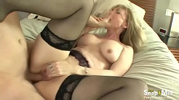 silver-blonde cougar like a cowgirl