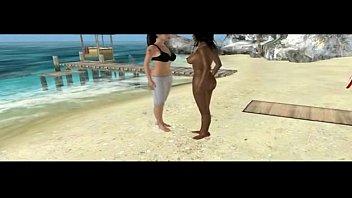 Hot 3D sluts on a beach have interracial oral
