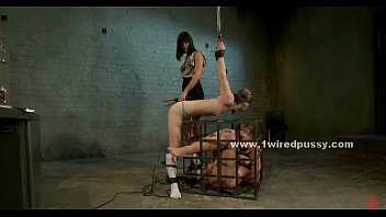 fuck-fest gimp trussed by sapphic domme
